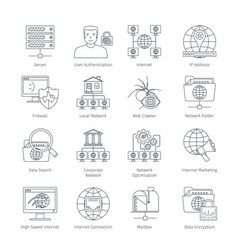 Internet Thin Line Icons vector
