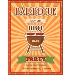 Invitation card on the barbecue design template vector image