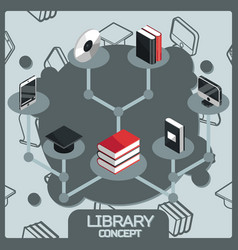library color concept isometric icons vector image