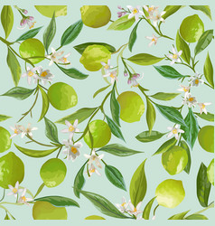 lime floral background seamless fruit vector image