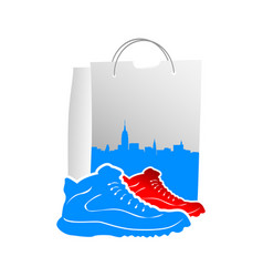male shoes with design shopping bags vector image