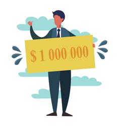 Man with lottery winning million dollars vector