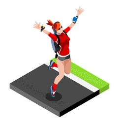 Marathon Runners Gym Working Out 3D Flat Image vector image