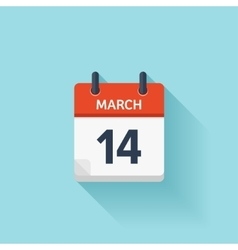 March 14 flat daily calendar icon Date vector image