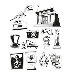 Monochrome pictures for museum exhibition vector