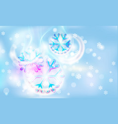 Motley snowflake on a chaotic blur for christmas vector