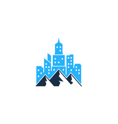 mountain town logo icon design vector image