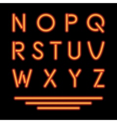 Neon Tube Letters Glowing Font vector