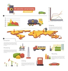 Oil Extraction and Processing Infographics Icons vector image
