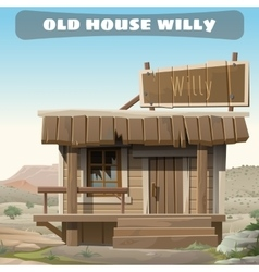 old abandoned house a cowboy in wild west vector image