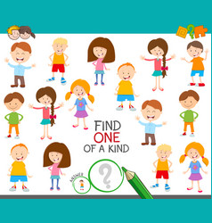 One of a kind game with cute cartoon children vector