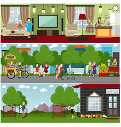People and relations concept flat poster or vector
