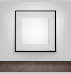 Poster picture black frame on wall front view vector