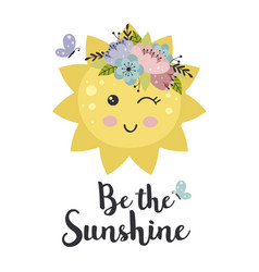 Poster with cute floral sun vector