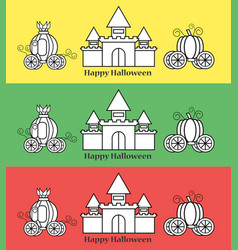 Pumpkin carriage with castle for halloween vector
