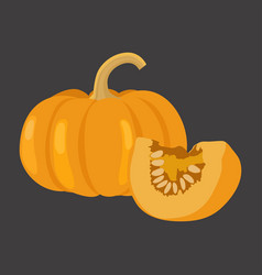 Pumpkin with slice flat design vector