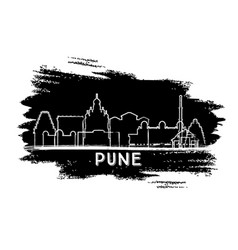 pune india city skyline silhouette hand drawn vector image
