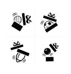 Set black sport drop in gift icons vector
