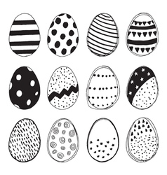set easter eggs doodles vector image