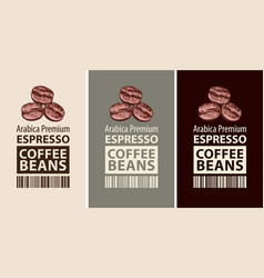 Set labels for coffee beans vector
