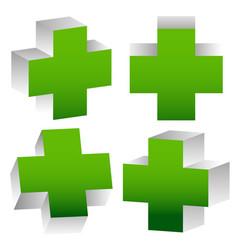 Set of 3d green crosses vector