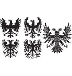 Set of heraldic black eagles vector