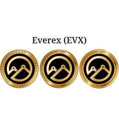 Set of physical golden coin everex evx vector