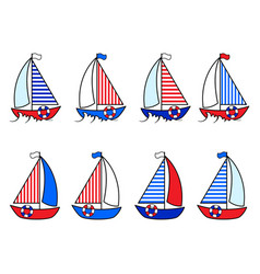 set sailboat in cartoon style vector image