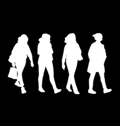 set women taking a walk concept monochrome vector image