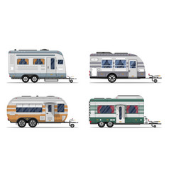 Side view camping trailers isolated on white vector