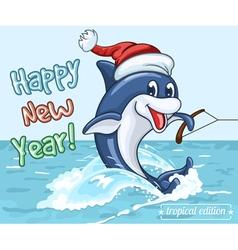 Smiling dolphin in Santa Claus cap vector
