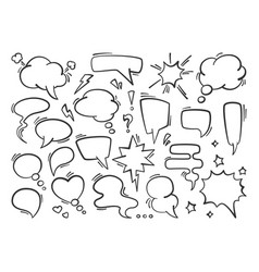 speech bubble set silhouette conversational drawn vector image