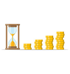 stack gold coins and hourglass clock vector image
