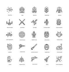 Star war line icons set vector
