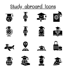 Study abroad graduation icon set vector