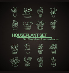 style hand drawn set of houseplant flowers and vector image