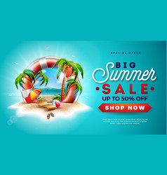 summer sale design with lifebelt and exotic palm vector image