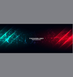 Technology banner with network mesh vector