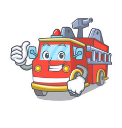 thumbs up fire truck character cartoon vector image