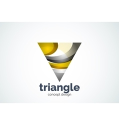 Triangle logo template triple cycle or pyramid vector image