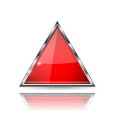 triangle red 3d glass icon with chrome frame vector image