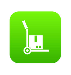 truck with cargo icon digital green vector image