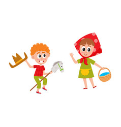 Vecotr flat boy and girl acting in play vector