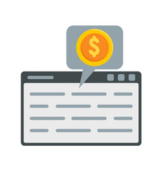 web page finance icon flat style vector image