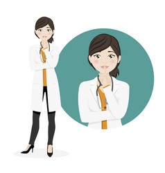 woman doctor asking for silence on a white vector image