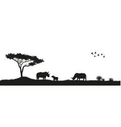 black silhouette of rhinoceroses in savannah vector image vector image