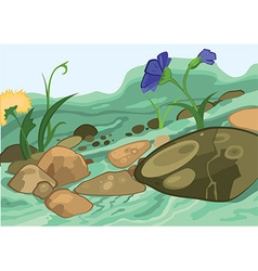 Cartoon flowers and stones vector image vector image