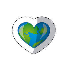 color earth planet heart icon vector image vector image