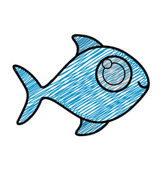 color pencil drawing of fish without scales vector image