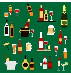 Drinks beverages and alcohol cocktails flat icons vector image
